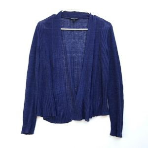 Eileen Fisher Linen Navy Blue Open Cardigan Small